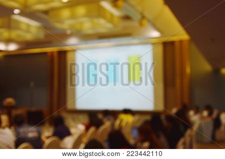 blur of projector screen the in meeting room