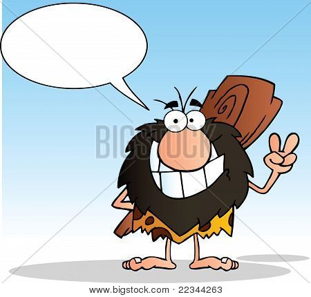 Caveman Gesturing The Peace Sign With His Hand And Speech Bubble