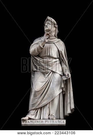 Francesco Petrarca statue, by Andrea Leoni, 1845. It is located in the Uffizi courtyard, in Florence.
