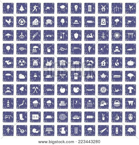 100 tree icons set in grunge style sapphire color isolated on white background vector illustration