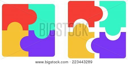 Four pieces puzzle, flat colors, assembled and detached. Vector illustration
