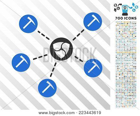 Nem Mining Network pictograph with 7 hundred bonus bitcoin mining and blockchain pictographs. Vector illustration style is flat iconic symbols designed for blockchain websites.