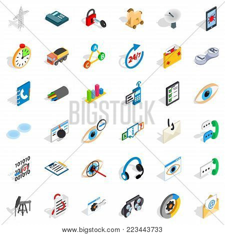 Supply mains icons set. Isometric set of 36 supply mains vector icons for web isolated on white background