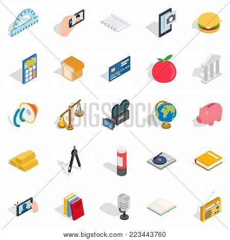 Singularity icons set. Isometric set of 25 singularity vector icons for web isolated on white background