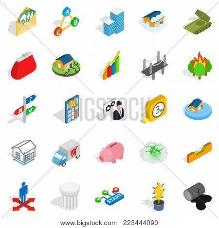 Feedback icons set. Isometric set of 25 feedback vector icons for web isolated on white background