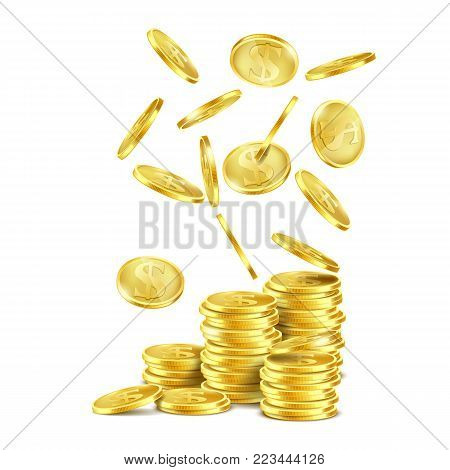 Vector realistic stack of gold coins, metal dollars with S symbol and falling down money, isolated on white background. Business success concept, cash jackpot background for casino poster, banner