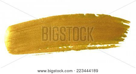 Gold brush paint stroke. Acrylic golden color smear stain on white background. Glitter gold banner with glossy texture for banner, invitation, wedding or bithday card template