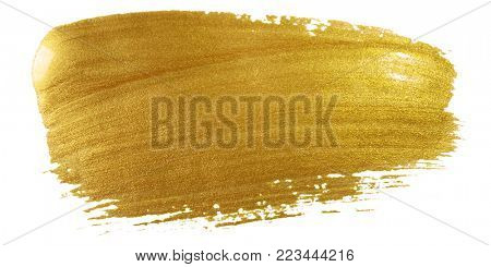 Gold color paint brush stroke. Big golden smear stain background on white backdrop. Abstract detailed gold glittering textured wet paint stroke for Christmas holiday card design template
