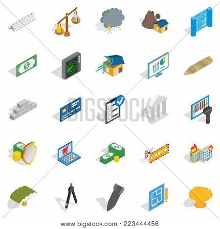 Feedback loop icons set. Isometric set of 25 feedback loop vector icons for web isolated on white background