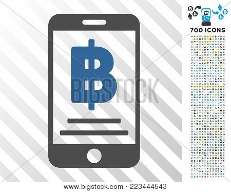 Bitcoin Mobile Payment pictograph with 700 bonus bitcoin mining and blockchain clip art. Vector illustration style is flat iconic symbols designed for bitcoin software.