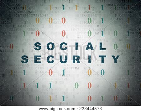 Privacy concept: Painted blue text Social Security on Digital Data Paper background with Binary Code