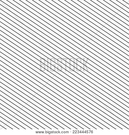 Vector seamless stripes pattern. Thin diagonal lines geometric texture. Simple striped illustration template, repeat tiles. Black and white colors. Abstract geometrical monochrome print background. Lines pattern. Lines diagonal background.