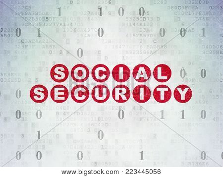 Privacy concept: Painted red text Social Security on Digital Data Paper background with Binary Code