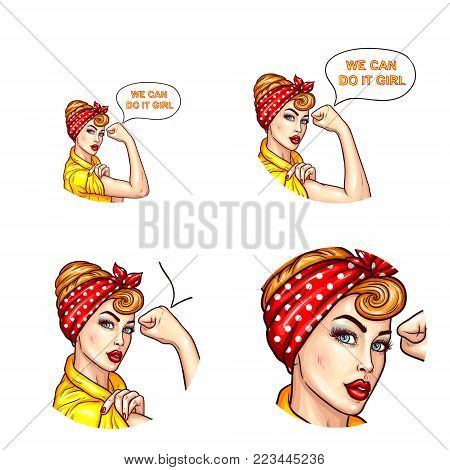 Vector pop art avatar for chat, blog, networking with confident lady, housewife with rolled up sleeves talks We can do it, girl. Motivating icon for empowerment, feminism, women s rights