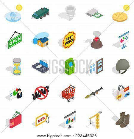 Positive feedback icons set. Isometric set of 25 positive feedback vector icons for web isolated on white background