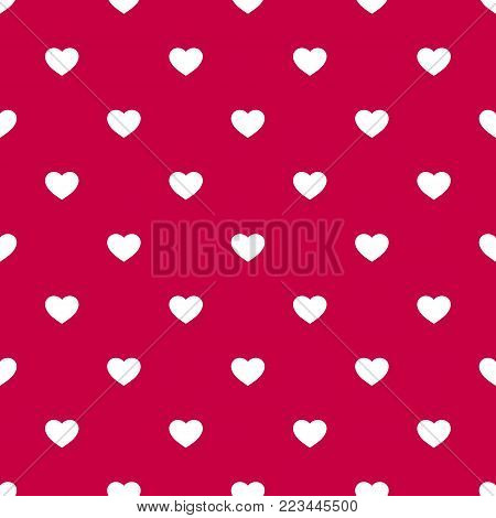 Vector seamless pattern with small white hearts on red backdrop. Valentines day background. Abstract geometric texture, repeat tiles. Love romantic theme. Design for decoration, gift paper, textile. Hearts pattern. Valentine day heart.
