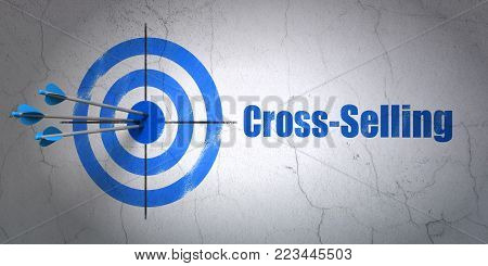 Success business concept: arrows hitting the center of target, Blue Cross-Selling on wall background, 3D rendering