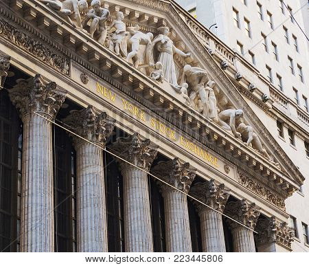 New York, USA, november 2016: facade of the New York Stock Exchange building in lower Manhattan, New York