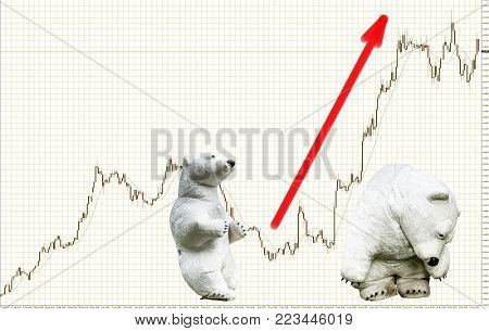 Bears in forex. Candlestick on a light background with a grid. Red arrow shows the direction of price growth. The bull market.