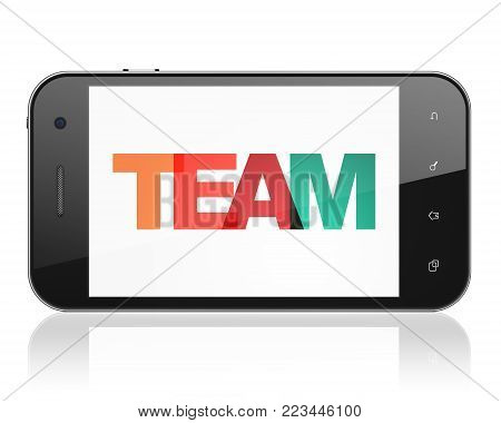 Finance concept: Smartphone with Painted multicolor text Team on display, 3D rendering