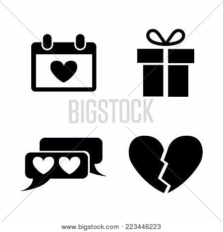 Love. Simple Related Vector Icons Set for Video, Mobile Apps, Web Sites, Print Projects and Your Design. Black Flat Illustration on White Background