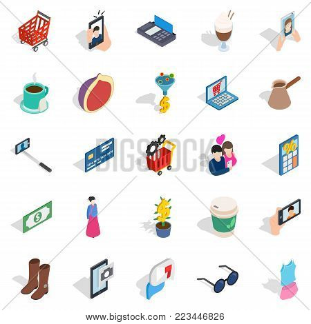 Feminine icons set. Isometric set of 25 feminine vector icons for web isolated on white background
