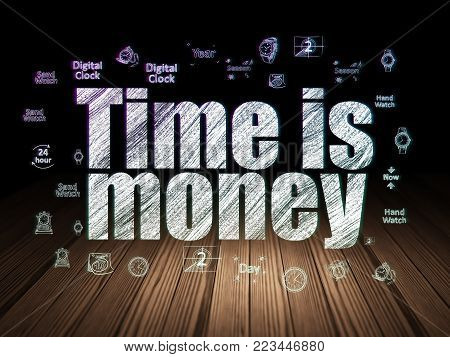 Time concept: Glowing text Time is Money,  Hand Drawing Time Icons in grunge dark room with Wooden Floor, black background