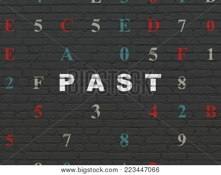 Time concept: Painted white text Past on Black Brick wall background with Hexadecimal Code