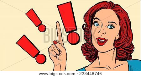 Exclamation point and pop art woman. Pop art retro vector illustration
