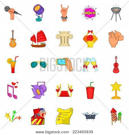Ceremonial icons set. Cartoon set of 25 ceremonial vector icons for web isolated on white background