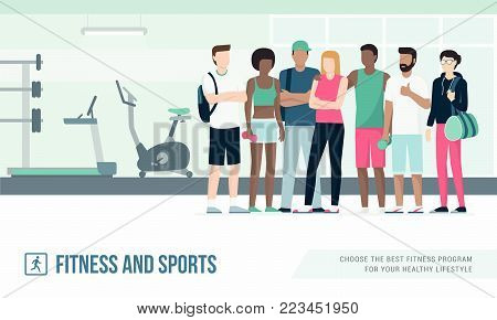 Young multi-ethnic people meeting at the gym, fitness and healthy lifestyle concept