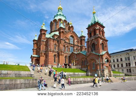 HELSINKI, FINLAND - JUNE 11, 2017: Cathedral of the Assumption of the Blessed Virgin Mary on a sunny June day