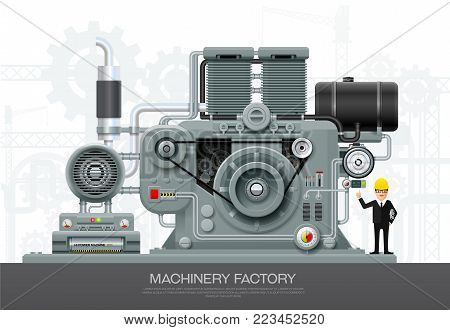 Industrial abstract machine in flat style. Factory construction equipment, engineering vector illustration with engineer character
