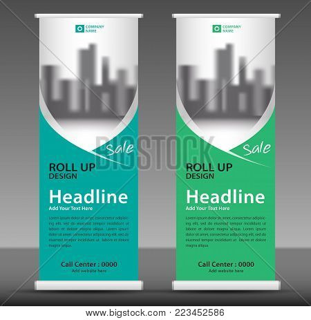 Green Roll Up Banner Template, Flyer Layout Vector, Pull Up, X-banner, Web Banner Design, Business F