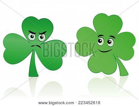 Clover leaf and shamrock comic faces - happy smiling and angry figure.