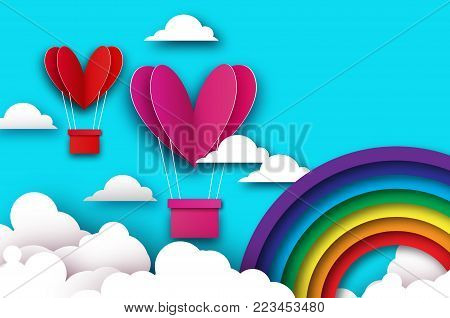 Heart shape Pink hot air balloon flying. Love in paper cut style. Origami Valentine day. Romantic Holidays. 14 February. Blue sky with origami clouds and rainbow. Vector