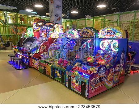 LVIV, UKRAINE - DECEMBER 01: Entertainment for children - Children's slot machines in the shopping center Victoria Gardens on December 01, 2017 in Lvov, Ukraine