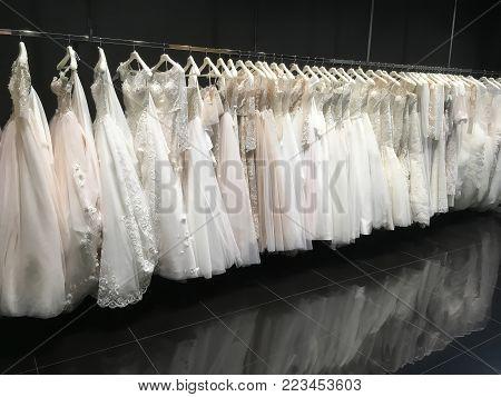 LVIV, UKRAINE - DECEMBER 01: Wedding dresses in the store Pollardi in the shopping center Victoria Gardens on December 01, 2017 in Lvov, Ukraine