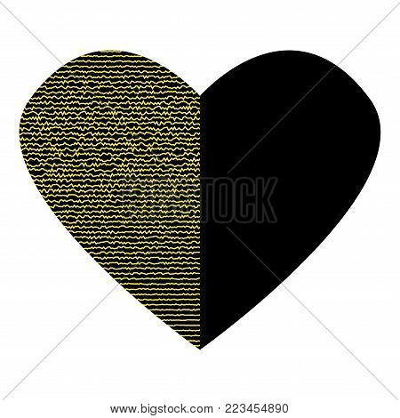 Black heart with gold lines on half sign. Beautiful icon isolated on white background. Logo for romantic holiday, celebration. Image of romance. Mark of decoration for love. Lovely symbol.Stock vector