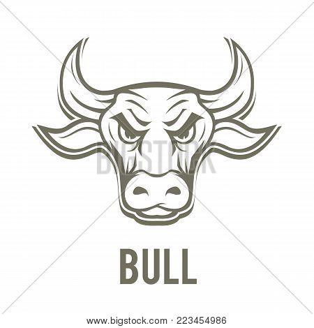 Bull logo isolated on white background. Bull head. Vector stock.