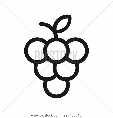 Bunch of wine grapes. Wine grapes icon. Vector stock.