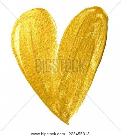 Valentine heart gold paint brush on white background. Golden watercolor painting of heart shape for love concept design. Valentine's day card heart template