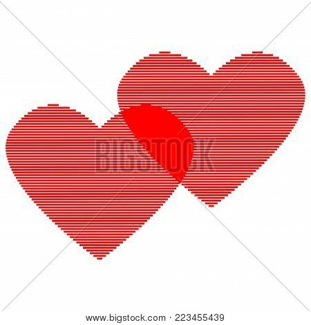 Double heart of red lines sign. Logo for romantic holiday, celebration. Beautiful icon isolated on white background. Lovely symbol. Image of romance. Mark of decoration for love. Stock vector