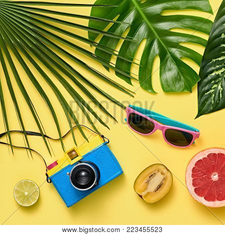 Tropical Palm Leaves, Fresh Fruits. Colorful Hot Summer Vibes. Fashion concept. Trendy Sunglasses, fashion Hipster Accessories. Retro Design camera. Beach outfit