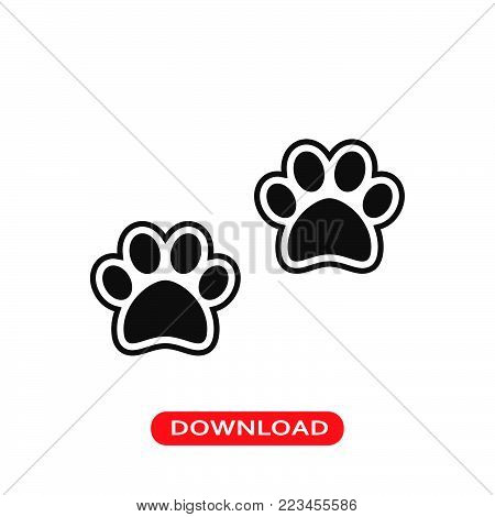 Dog pawprints icon vector in modern flat style for web, graphic and mobile design. Dog pawprints icon vector isolated on white background. Dog pawprints icon vector illustration, editable stroke and EPS10. Dog pawprints icon vector simple symbol for app,