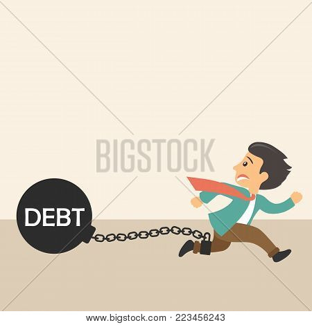 Man chained to his debts metaphor. Flat vector illustration
