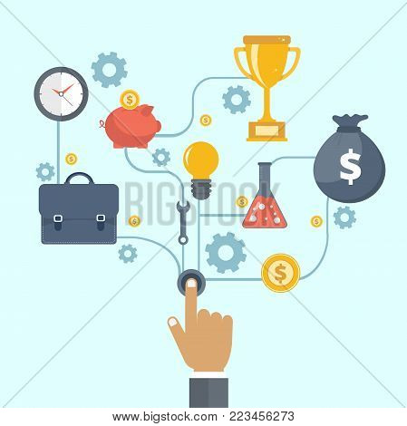 Business and entrepreneurship business start or launch with gears and cogs with various icons for industry. Flat vector illustration