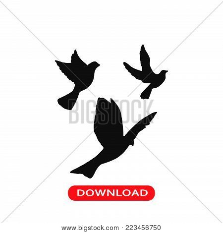Flying doves icon vector in modern flat style for web, graphic and mobile design. Flying doves icon vector isolated on white background. Flying doves icon vector illustration, editable stroke and EPS10. Flying doves icon vector simple symbol for app, logo