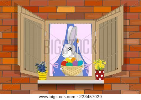 Hare with an Easter basket in the window of the house, vector illustration