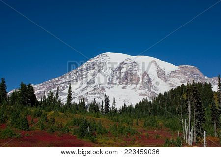 Mount Rainier in Washington state on a clear autumn day.